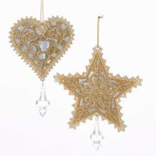 Kurt Adler Platinum Star / Heart Ornament #T1505PLT