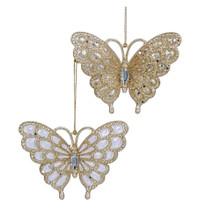 Kurt Adler Platinum & Silver Butterfly Ornament #T1732