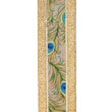 Kurt Adler 10yd Woven Peacock Pattern Ribbon #T2394