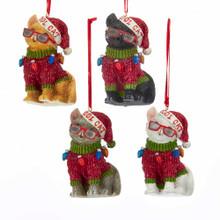 Kurt Adler Cool Yule Cat Ornament #E0298