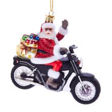Kurt Adler Noble Gems Santa on Motorcycle Ornament #NB1430