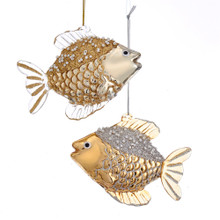 Kurt Adler Glass Silver & Gold Fish Ornament #D3569