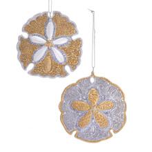Kurt Adler Silver & Gold Sand Dollar Ornament #E0363