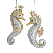 Kurt Adler Gold & Silver Jewels of the Sea Seahorse Ornament #E0365