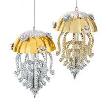 Kurt Adler Gold & Silver Jellyfish Ornament #T2635
