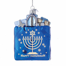 Kurt Adler Glass Happy Hanukkah Gift Bag Ornament #NB1126