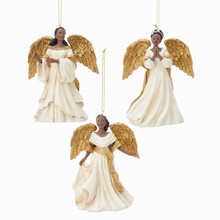 Kurt Adler Gold & Ivory African American Angel Ornament #C7607
