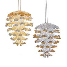 Kurt Adler Gold / Silver Pinecone Ornament #T2416