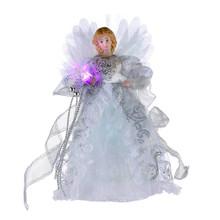 Kurt Adler Silver & White LED Fiber Optic Angel Tree Top #UL1984