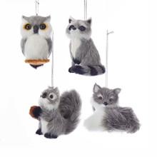 Kurt Adler Furry Gray Animal Ornament #C4838