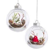 Kurt Adler Cardinal / Deer Terrarium Scene Ornament #H7538
