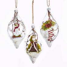 Kurt Adler Glass Santa / Snowman / Stocking Winter Scene Ornament #T2260