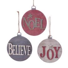 Kurt Adler Wooden Round Christmas Word Ornament #T2305