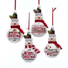 Kurt Adler Glass Snowman with Christmas Greeting Ornament #T2508