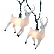 Kurt Adler 10L White Glitter Reindeer Light Set #UL4290