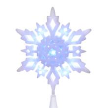 Kurt Adler 10in LED Cool White Glitter Snowflake Tree Top #JEL0310CW