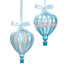 Kurt Adler Blue & Silver Hot Air Balloon Ornament #C7590
