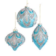 Kurt Adler Glass Light Blue & Silver Decorated Ornament #D3555