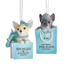 Kurt Adler Puppy in Blue & White Shopping Bag Ornament #E0270