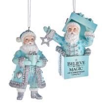 Kurt Adler Blue, White & Silver Santa Ornament #E0278
