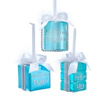 Kurt Adler Glass Blue, White & Silver Gift Box Ornament #T2479