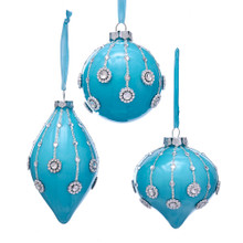 Kurt Adler Glass Blue with Gems Ornament #T2480
