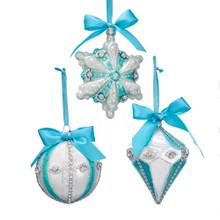 Kurt Adler Glass Blue with Bows Ornament #T2481