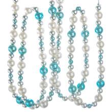 Kurt Adler 5ft Blue, White & Silver Pearl Beaded Garland #T2492