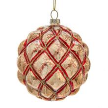 Kurt Adler Mercury Glass Platinum & Red Ball Ornament #D3643