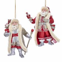 Kurt Adler Ruby & Platinum Santa Claus Ornament #E0342