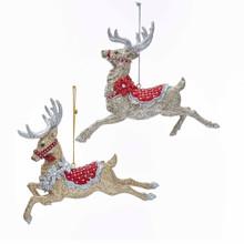 Kurt Adler Ruby & Platinum Flying Deer Ornament #E0343