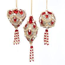 Kurt Adler Ruby & Platinum with Pearls Mini Ornament #S4393