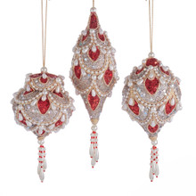 Kurt Adler Ruby & Platinum with Pearls Ornament #S4396