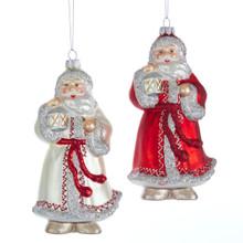 Kurt Adler Glass Red & Ivory Santa Ornament #T2596