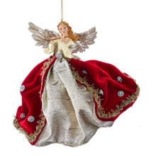 Kurt Adler Md Ruby & Platinum Flying Angel Ornament #T2618