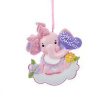 Kurt Adler Baby's 1st Christmas Baby Elephant Girl Ornament #H5147