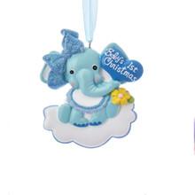Kurt Adler Baby's 1st Christmas Baby Elephant Boy Ornament #H5147B