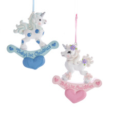 Kurt Adler Baby's 1st Christmas Unicorn Rocking Horse Ornament #H5540