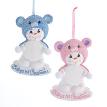 Kurt Adler Baby's 1st Christmas Snowbear Boy / Girl Ornament #H5546