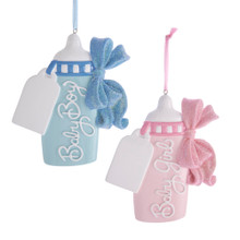 Kurt Adler Baby's 1st Christmas Boy / Girl Bottle Ornament #H5547