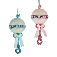Kurt Adler Glass Pink / Blue Baby Rattle Ornament #NB1454