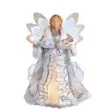 Kurt Adler 10L Whtie & Silver Angel Tree Top #UL1099
