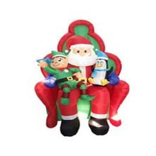 6ft Inflatable Santa On Chair W/Elf & Penguin