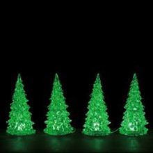 Lemax 4pc Small Crystal Lighted Color Changing Tree, B/O #94518