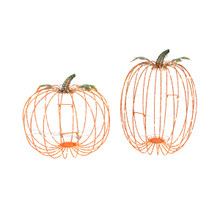 Set of 2 Electric Lighted Metal Pumpkin