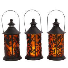 Set of 3 Hanging Halloween Lantern with Spooky Scene