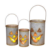 Set of 3 Metal Pumpkin Face Luminaries