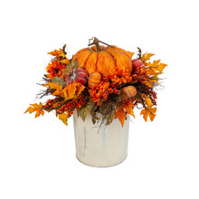 Harvest Porch Bucket  with Floral and Pumpkin Arrangement