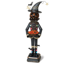 Lighted Mr. Pumpkin Holding Candy Bowl
