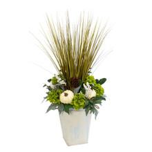 Harvest Porch Bucket with Floral Arrangement